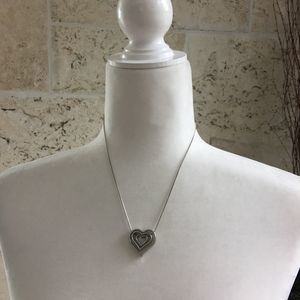 Silver Tone Stacked Heart Pendant Necklace